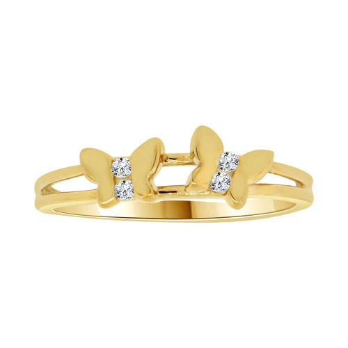 14k Yellow Gold, Dainty Thin Mini Butterflies Design Butterfly Ring Brilliant Cubic Zirconia (R104-019)