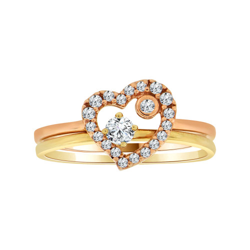 14k Yellow & Rose Gold, 2 Piece Set Dainty Heart Design Promise Ring Cubic Zirconia (R104-022)