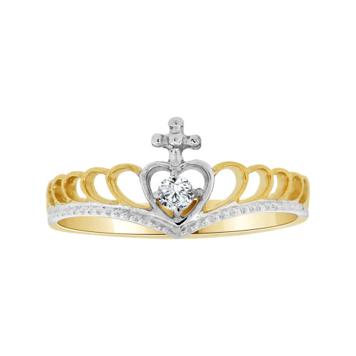 14k Yellow Gold White Rhodium, Dainty Thin Crown Tiara Ring Heart Design Cubic Zirconia (R104-023)