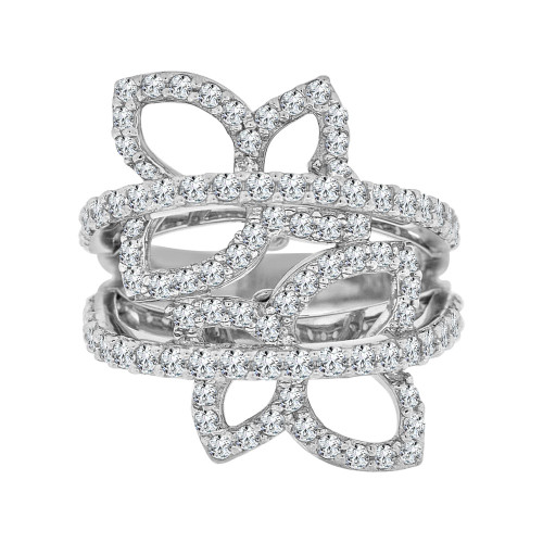 14k White Gold, Fancy Butterfly Design Cocktail Ring Brilliant Cubic Zirconia (R104-056)