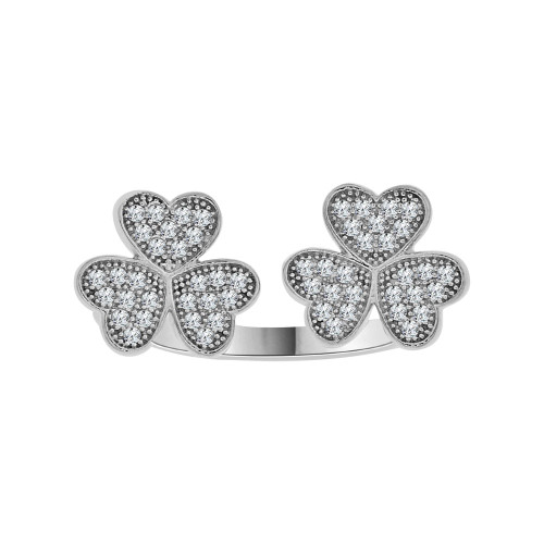 14k White Gold, Fancy Heart Clover Design Ring Brilliant Cubic Zirconia (R104-063)