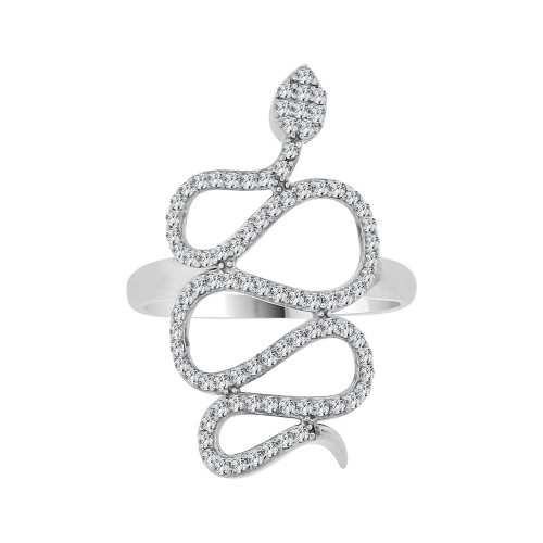 14k White Gold, Fancy Dainty Snake Design Ring Cubic Zirconia (R104-066)