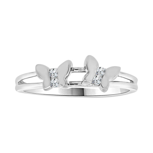 14k White Gold, Dainty Thin Mini Butterflies Design Butterfly Ring Brilliant Cubic Zirconia (R104-069)