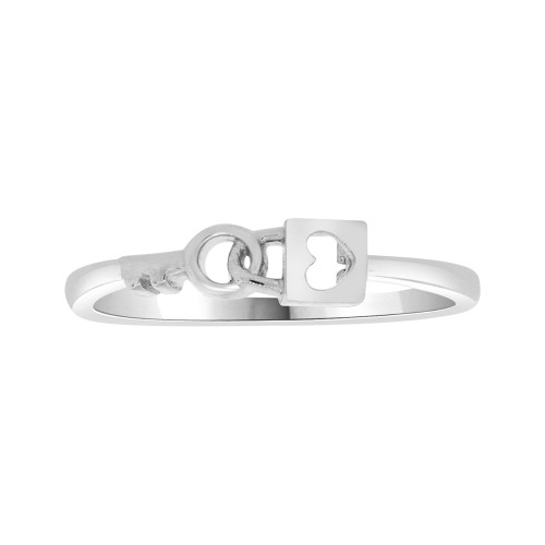 14k White Gold, Thin Dainty Heart Lock & Key Design Ring (R104-070)