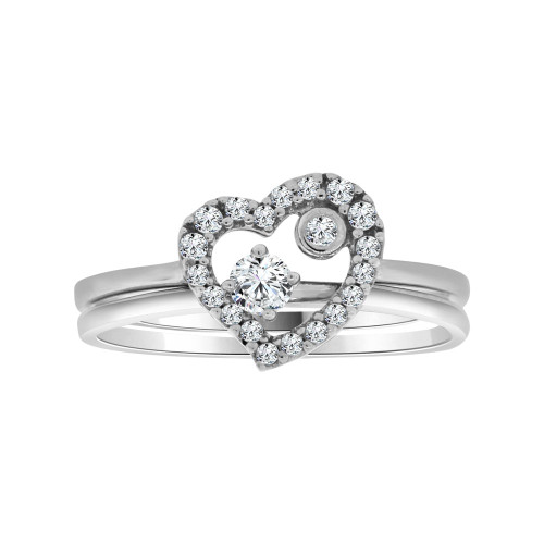 14k White Gold, 2 Piece Set Dainty Heart Design Promise Ring Cubic Zirconia (R104-072)