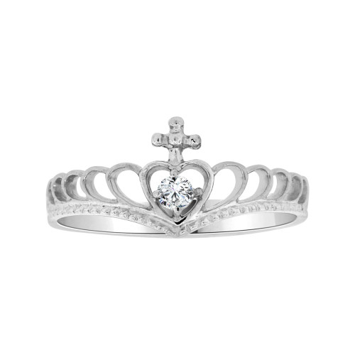 14k White Gold, Dainty Thin Crown Tiara Ring Heart Design Cubic Zirconia (R104-073)