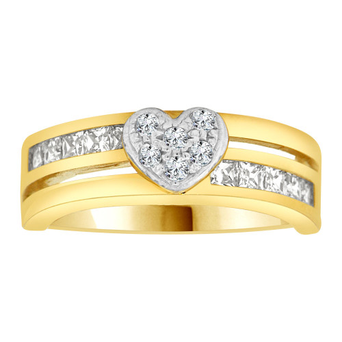 14k Yellow Gold White Rhodium, Modern Heart Band Ring CZ Crystals (R105-009)