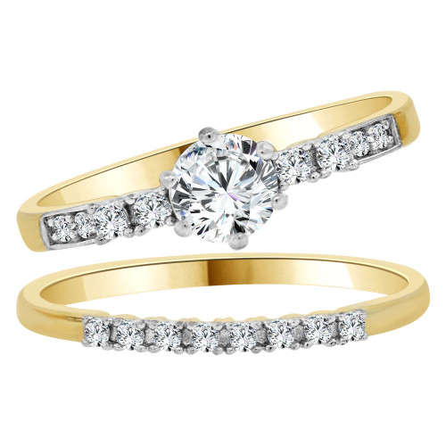 14k Yellow Gold White Rhodium, Lady 2 Set Engagement Ring Round Created CZ 6mm 0.75ct (R105-022)