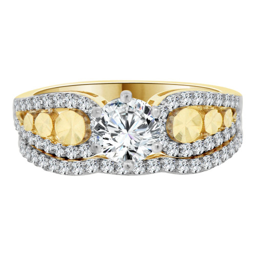 14k Yellow Gold White Rhodium, Lady 2 Set Engagement Ring Round Created CZ 6mm 0.75ct (R105-023)