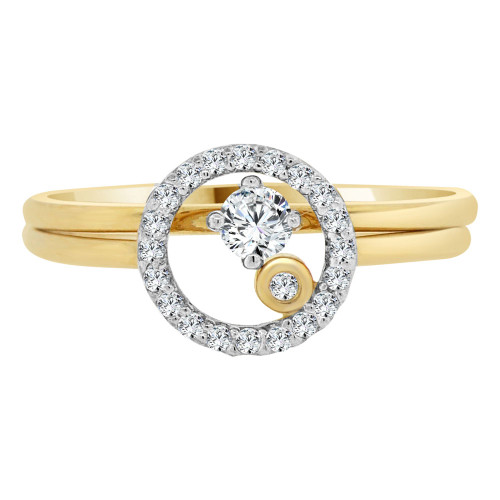 14k Yellow Gold White Rhodium, Lady 2 Piece Set Promise Ring Round CZ Crystals (R105-024)
