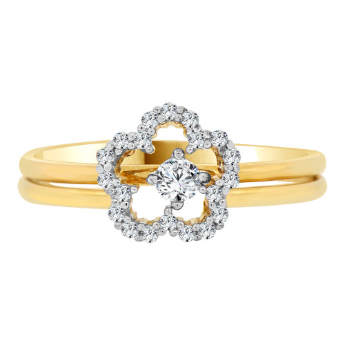 14k Yellow Gold White Rhodium, Lady 2 Piece Set Promise Ring Flower CZ Crystals (R105-025)