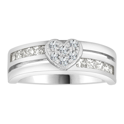 14k White Gold, Modern Heart Band Ring CZ Crystals (R105-059)