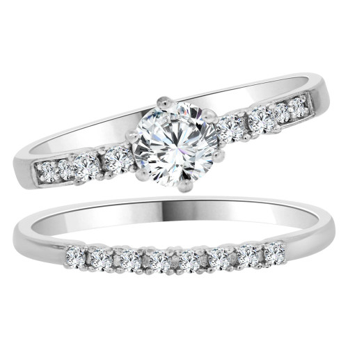 14k White Gold, Lady 2 Piece Set Engagement Ring Round CZ Crystals 6mm 0.75ct (R105-072)