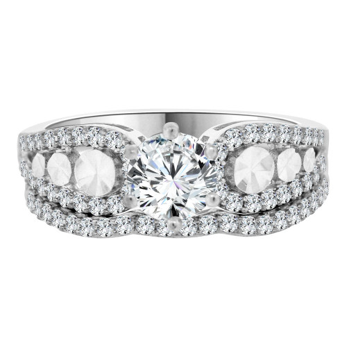 14k White Gold, Lady 2 Piece Set Engagement Ring Round CZ Crystals 6mm 0.75ct (R105-073)