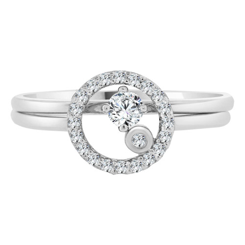 14k White Gold, Lady 2 Piece Set Promise Ring Round CZ Crystals (R105-074)