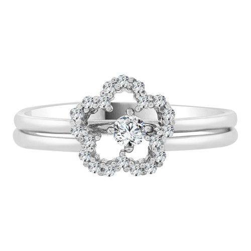 14k White Gold, Lady 2 Piece Set Promise Ring Flower CZ Crystals (R105-075)