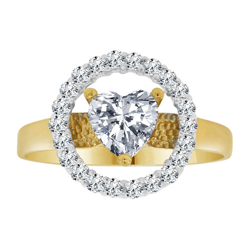 14k Yellow Gold White Rhodium, Elegant Heart Design Ring Brilliant Cubic Zirconia (R106-008)