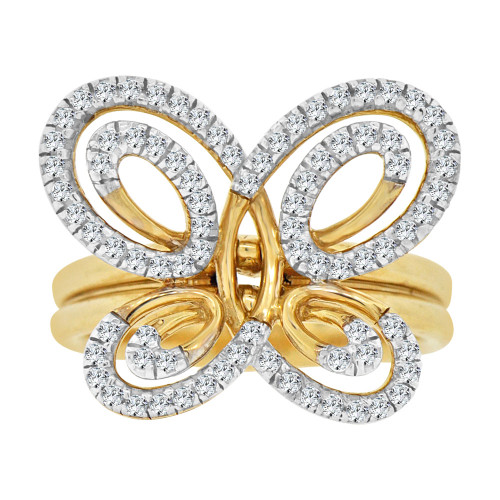14k Yellow Gold White Rhodium, Fancy Butterfly Design Ring Brilliant Cubic Zirconia (R106-011)