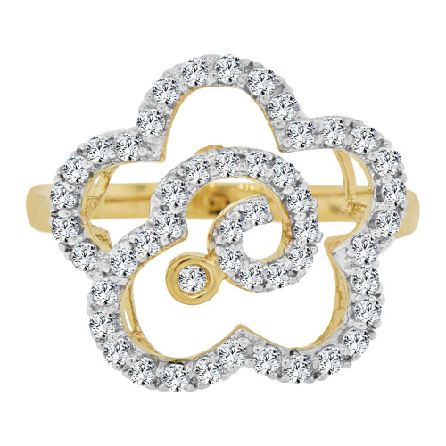 14k Yellow Gold White Rhodium, Fancy Modern Flower Design Ring Brilliant Cubic Zirconia (R106-014)