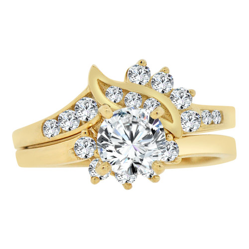 14k Yellow Gold, 2 Piece Set Engagement Wedding Ring Round Cubic Zirconia 6mm 0.75ct (R106-021)