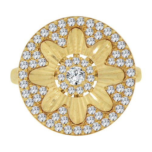 14k Yellow Gold, Fancy Flower Design Cocktail Ring Brilliant Cubic Zirconia (R106-022)