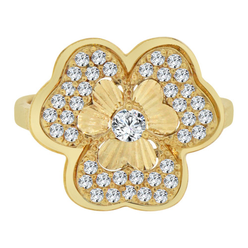 14k Yellow Gold, Fancy Clover Design Cocktail Ring Brilliant Cubic Zirconia (R106-023)