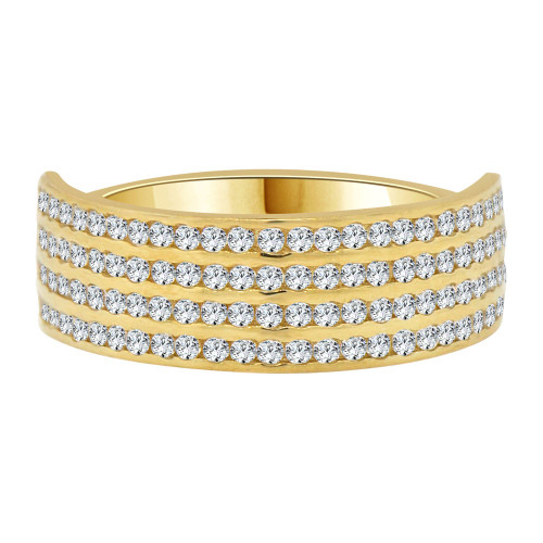 14k Yellow Gold, Timeless 4 Row Band Ring Brilliant Cubic Zirconia (R106-025)