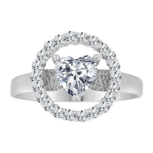 14k White Gold, Elegant Heart Design Ring Brilliant Cubic Zirconia (R106-058)