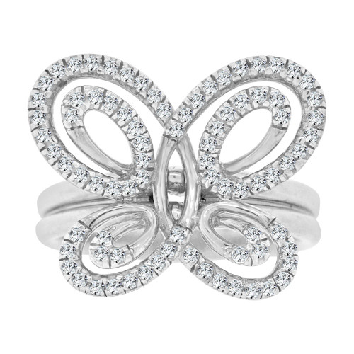 14k White Gold, Fancy Modern Butterfly Design Cocktail Ring Brilliant Cubic Zirconia (R106-061)