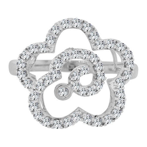 14k White Gold, Fancy Modern Flower Design Cocktail Ring Brilliant Cubic Zirconia (R106-064)