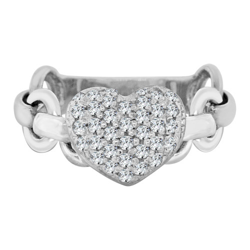 14k White Gold, Heart Design Ring Flexible Link Style Shank and Brilliant Cubic Zirconia (R106-066)