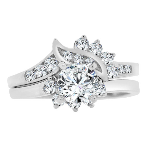 14k White Gold, Lady 2 Piece Set Engagement Wedding Ring Round Cubic Zirconia 6mm 0.75ct (R106-071)
