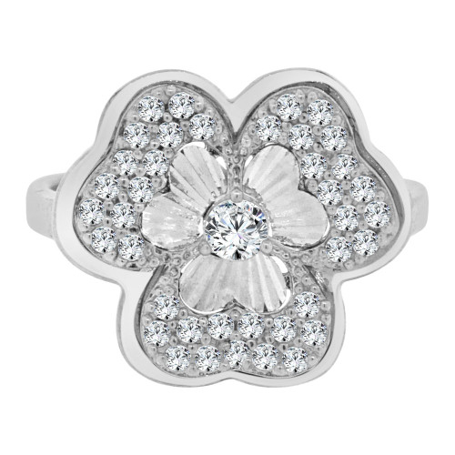 14k White Gold, Fancy Clover Design Cocktail Ring Brilliant Cubic Zirconia (R106-073)