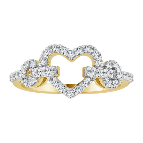 14k Yellow Gold White Rhodium, Classic Heart Design Ring Cubic Zirconia (R107-002)