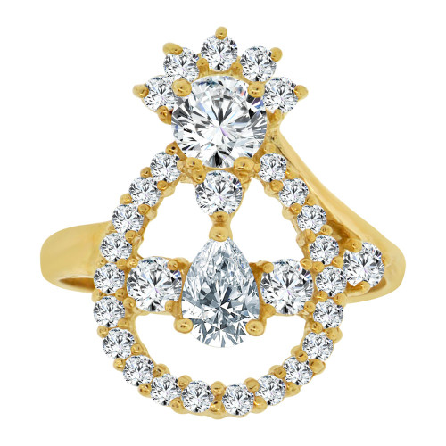14k Yellow Gold, Modern Abstract Pear Shape Design Ring Cubic Zirconia (R107-011)