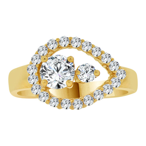 14k Yellow Gold, Abstract Pear Shape Design Ring Cubic Zirconia (R107-015)