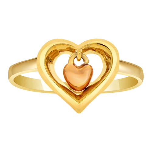 14k Yellow Gold, Double Heart Design Ring Dangling Heart Within a Heart (R107-016)