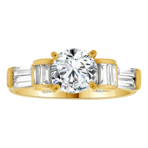 14k Yellow Gold, Lady Engagement Wedding Ring Round Center Cubic Zirconia 6.5mm 1.0ct (R107-027)