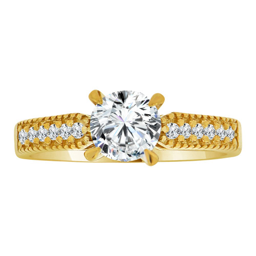 14k Yellow Gold, Lady Engagement Wedding Ring Round Center Cubic Zirconia 6.5mm 1.0ct (R107-028)