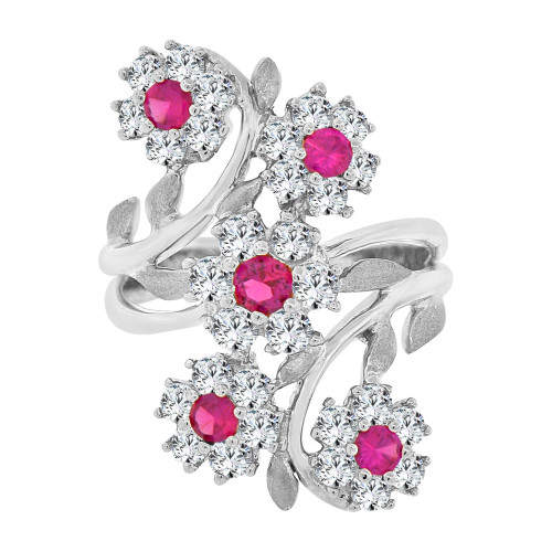 14k White Gold,  Double Flower Design Fancy Ring Cubic Zirconia (R107-060)