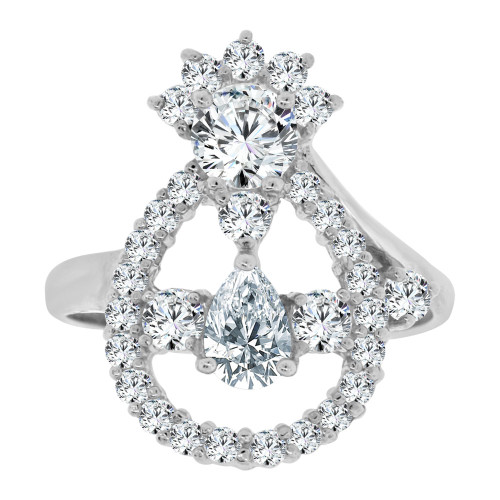 14k White Gold, Abstract Pear Shape Design Ring Cubic Zirconia (R107-061)