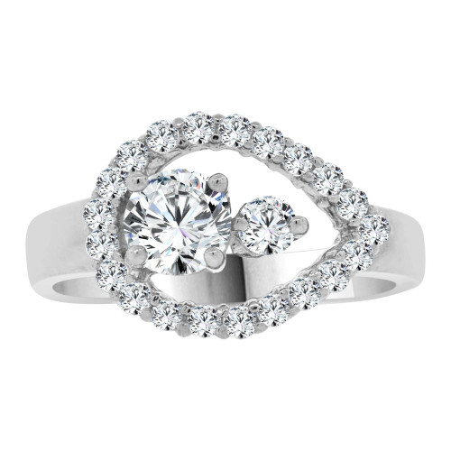 14k White Gold, Abstract Pear Shape Design Ring Cubic Zirconia (R107-065)