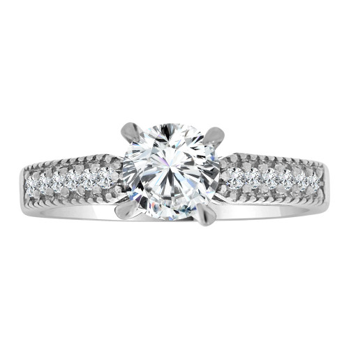 14k White Gold, Lady Engagement Wedding Ring Round Center Cubic Zirconia 6.5mm 1.0ct (R107-078)