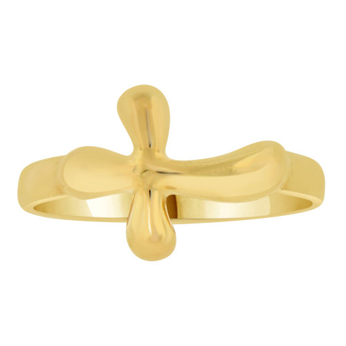 14k Yellow Gold, Modern Style Religious Purity Promise Cross Religious Design Ring (R108-002)