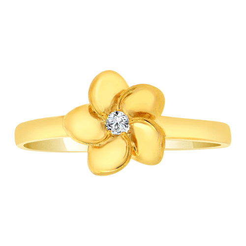 14k Yellow Gold, Plumeria Hawaiian Flower Design Ring Cubic Zirconia (R108-004)