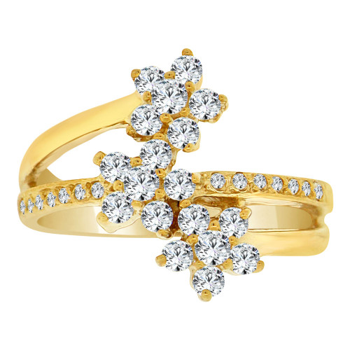 14k Yellow Gold, Fancy Three Flower Cluster Design Ring Cubic Zirconia (R108-007)