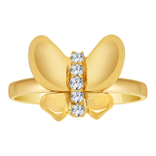14k Yellow Gold, Simple Butterfly Design Ring Cubic Zirconia (R108-008)