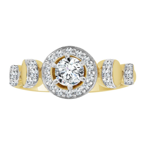 14k Yellow Gold White Rhodium, Fancy Engagement Ring Cubic Zirconia (R108-013)