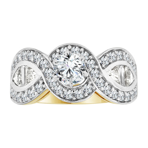14k Yellow Gold White Rhodium, Fancy Engagement Ring Cubic Zirconia (R108-014)