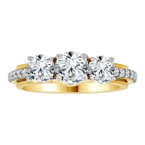 14k Yellow Gold White Rhodium, 3 Stone Fancy Engagement Ring Eternity Cubic Zirconia Size 7.5 (R108-015)